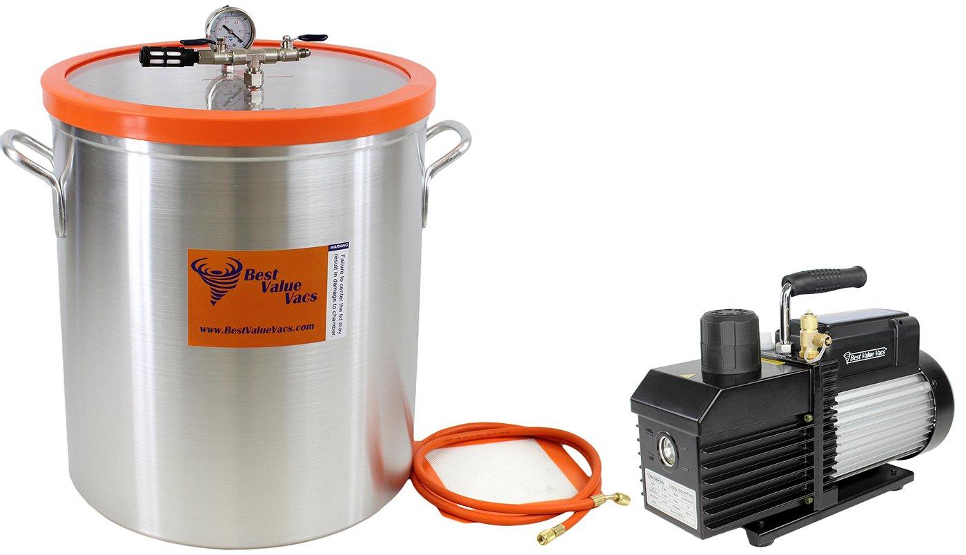 Best Value Vacs 15 Gallon Aluminum Vacuum Chamber and VE280 9CFM 2 Stage Vacuum Pump Kit