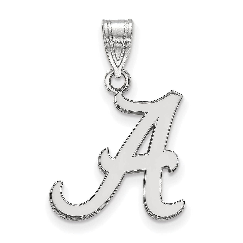 925 Sterling Silver Rhodium-plated Laser-cut University of Alabama Medium Pendant