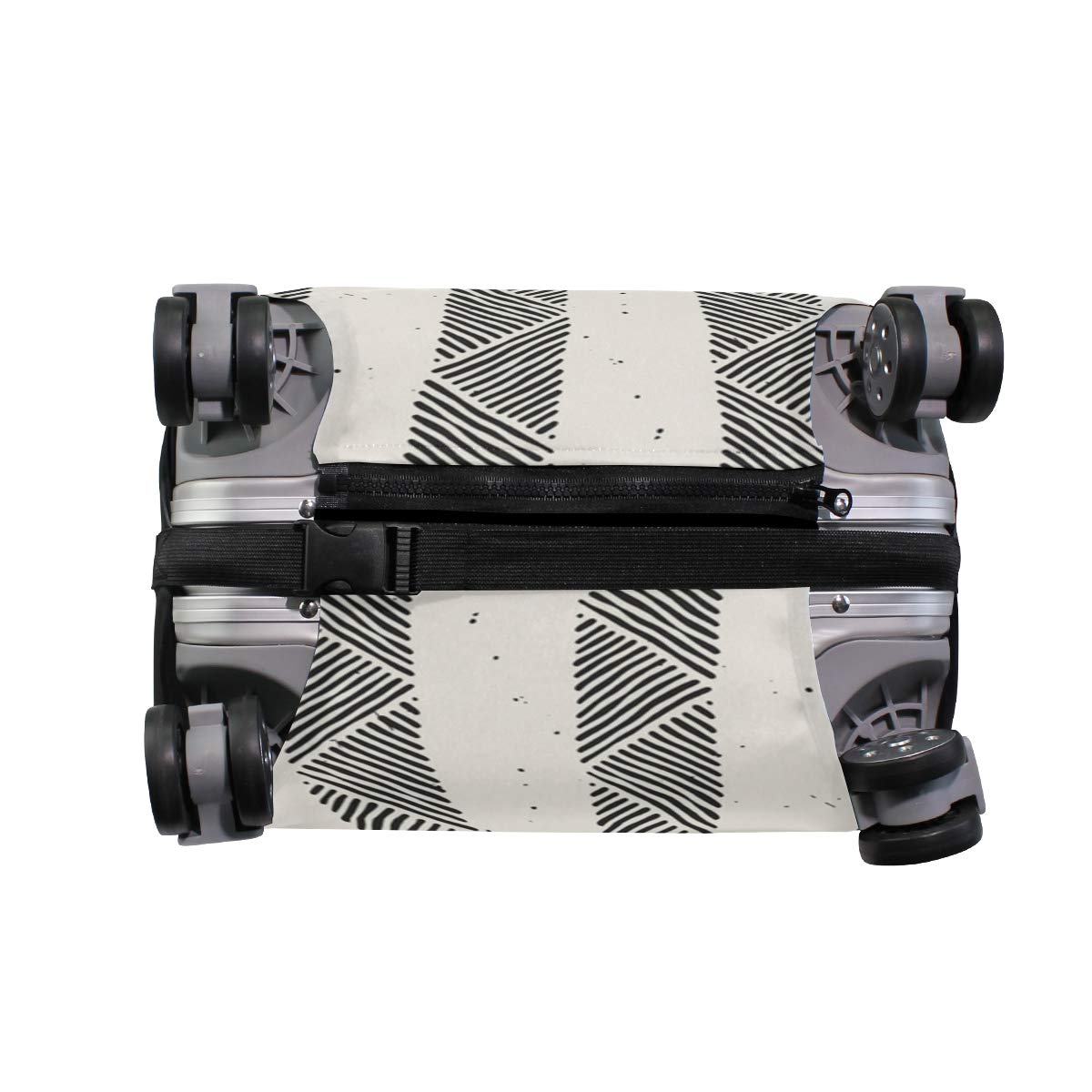 Doodle Line Pattern Black Traveler Lightweight Rotating Luggage Protector Case Can Carry With You Can Expand Travel Bag Trolley Rolling Luggage Protector Case