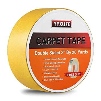 YYXLIFE Double Sided Carpet Tape,2Inch x 20 Yards,For Area Rugs Carpet Adhesive Rug Gripper Removable Multi-Purpose Rug Tape Cloth for Hardwood Floors,Outdoor Rugs,Carpets.Heavy Duty Sticky Tape,YL