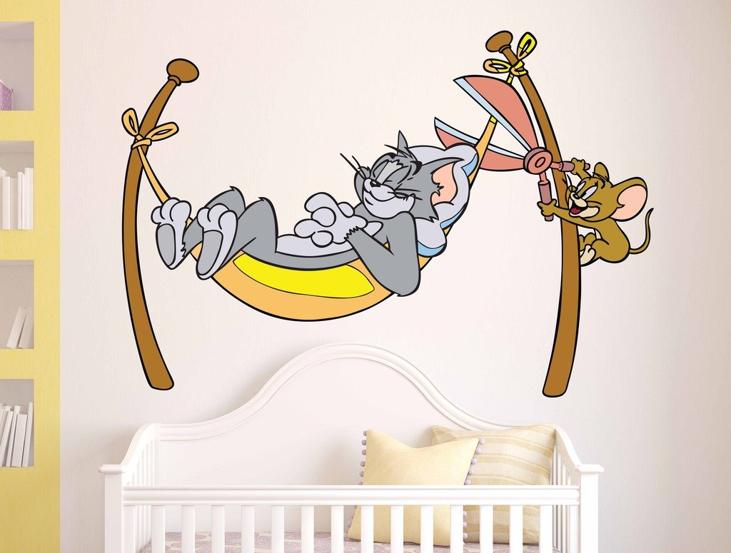 Buy decals design cartoon sleeping tom and naughty jerry design buy decals design cartoon sleeping tom and naughty jerry design wall sticker pvc vinyl 60 cm x 45 cm x 60 cm online at low prices in india amazon amipublicfo Image collections