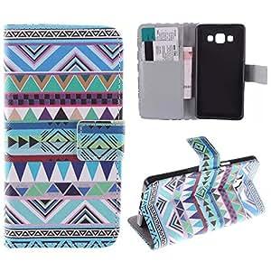 Painted Colorido Serie PU Cuero Cartera Caso cubrir Funda para Samsung Galaxy A3 Case Carcasa protectora piel Shell con ranuras Tarjetas (T01#)