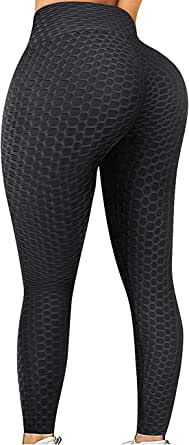 Fitnery Women's High Waist Textured Yoga Pants Ruched Butt Lifting Slim Workout Leggings Sexy Booty Sports Tights
