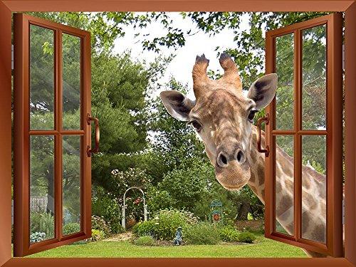 Curious Giraffe Sticking its head into an Open Window Removable Wall Sticker Wall Mural