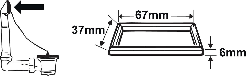 Multicolore Cornat TEC356406 Joint plat pour trop plein /évier 67x37x6 mm