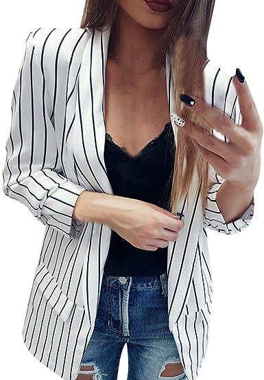 Americana Mujer Elegante Primavera Otoño De Solapa Camisa Flecos Manga Largo Joven Ligeros Fashion Anchas Día Casuales Abierto Blazer Outerwear Prendas Exteriores Women: Amazon.es: Ropa y accesorios