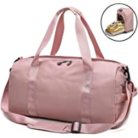 Gym Bag with Shoes Compartment and Wet Pocket, Travel Duffle Sport Bag Training Handbag Shoulder Tote Bag for Men and Women,Pink