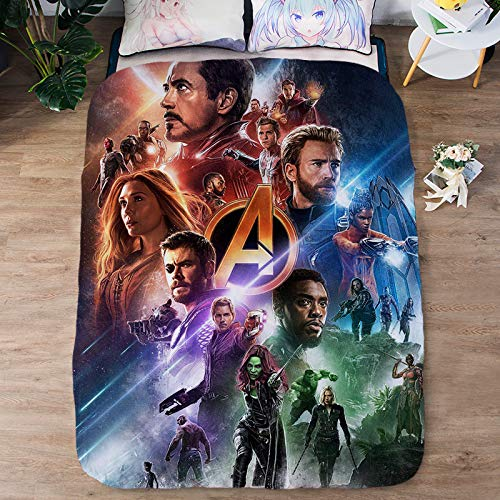 Paixide 3D Avengers Blanket Bedding Printed Summer Quilt Soft Microfiber Cute Comforter Washable Light Weight with 1 Quilt, Full Size