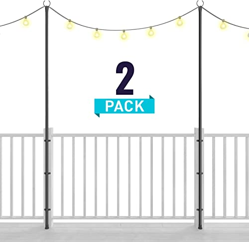 Holiday Styling String Light Poles for Deck Fence or Patio – Hang Backyard LED or Solar Outdoor Lights w Pole Bracket Kit Secured to Your Railing 2 x 110 inches – Great Plant Hanger