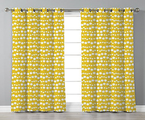 - Thermal Insulated Blackout Grommet Window Curtains,Yellow and White,Modern Design Bubble Inspired Stripe Lined Circles Rounds Decorative,Earth Yellow and White,2 Panel Set Window Drapes,for Living Roo