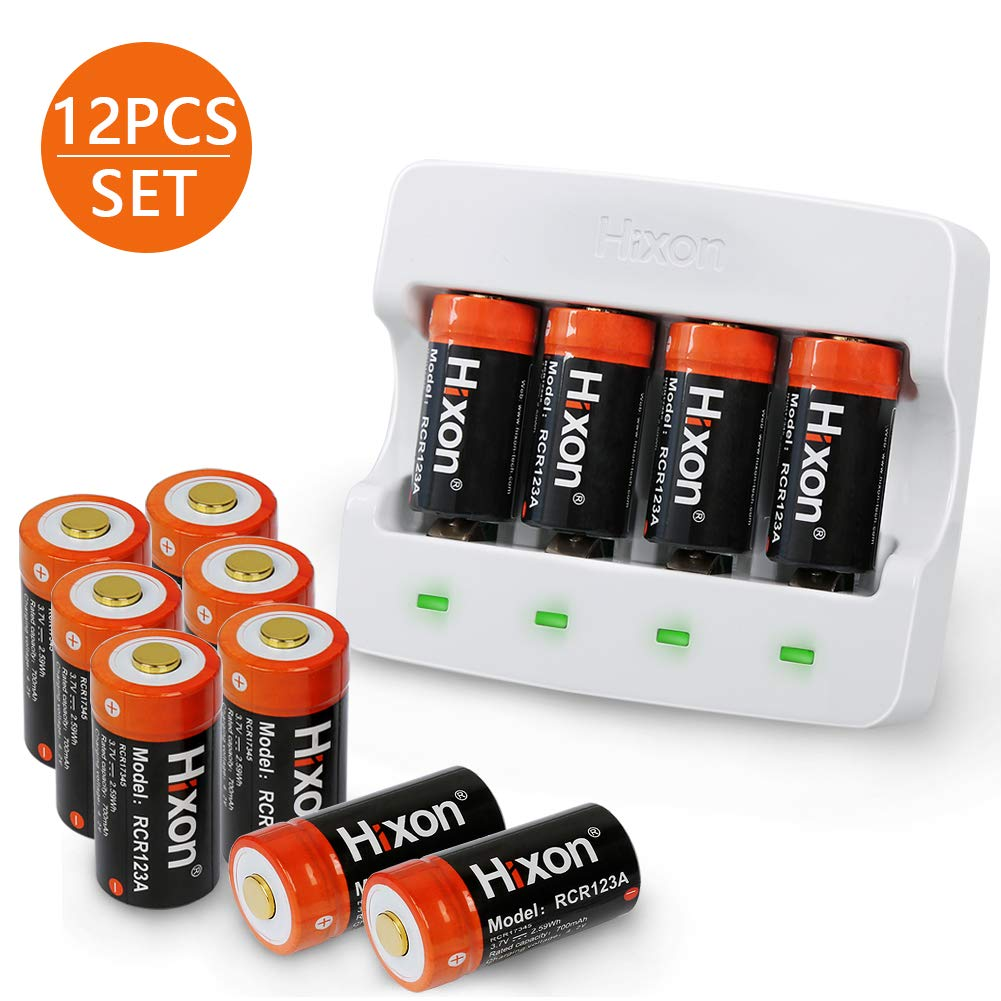 CR123A Rechargeable Batteries(12 PCS) and Charger, Hixon 3.7V 700mAh CR123A Li-ion Batteries for Arlo HD Security Cameras(VMC3030/VMK3200/VMS3330/3430/3530), UN CE Certified