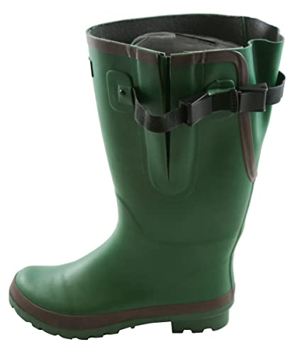 7cfc7616486 Extra Wide Fit Green Wellies with Rear Gusset- Fit up to 53cm Calf