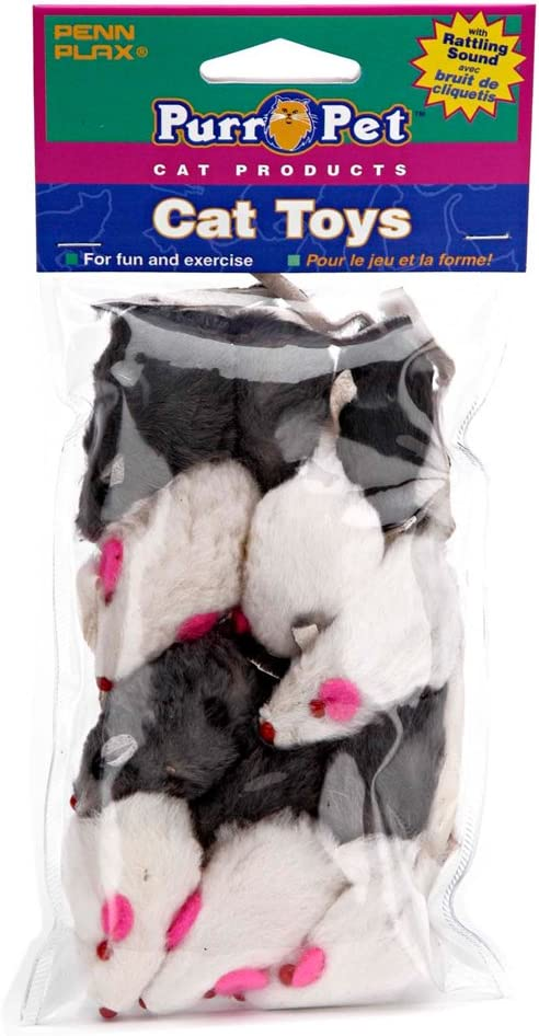 Penn Plax Play Fur Mice Cat Toys – Mixed Bag of 12 Play Mice with Rattling Sounds – 3 Color Variety Pack - CAT531, black and white