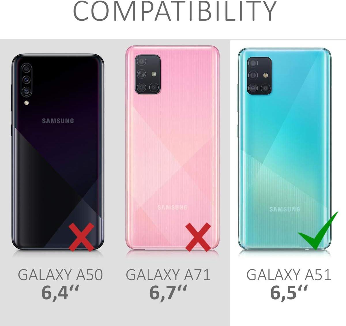 Protector Trasero en Rojo Granada Carcasa de TPU Silicona kwmobile Funda Compatible con Samsung Galaxy A51