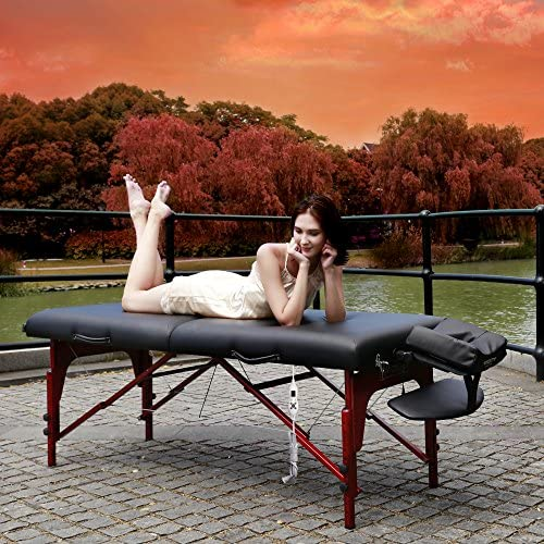 Chi Massage Portable Table Package by NRG – Lightweight, Folding Massage Therapy Table – Ultra Comfortable – Made of Durable White Oak – Premium Headrest with Cushion, Carry Case – Color Black