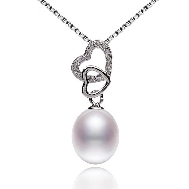 CS-DB Jewelry Silver Design Heart Shape Pearl Chain Charm Pendants Necklaces