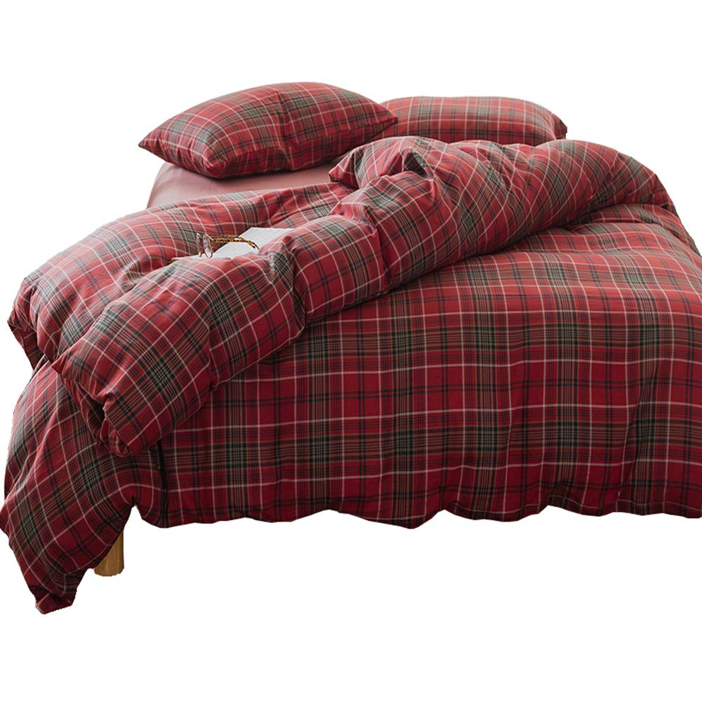 HIGHBUY Luxury Plaid Duvet Cover Queen Bedding Sets for Kids Men Gift Red Grid Geometric Comforter Cover Set 3 Pieces Brushed Cotton Full Duvet Cover Flannel Bedding Sets Full for Adults Boys Girls
