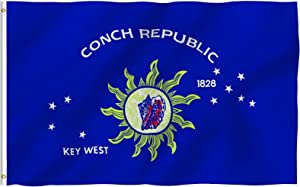 Anley Fly Breeze 3x5 Foot Conch Republic Flag - Vivid Color and Fade Proof - Canvas Header and Double Stitched - Key West Flags Polyester with Brass Grommets 3 X 5 Ft