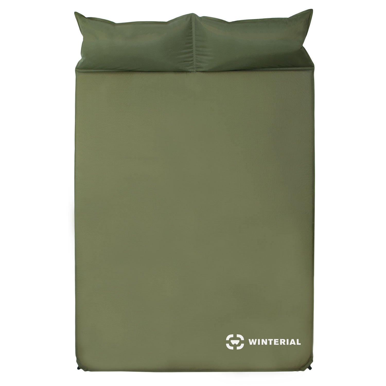 Winterial Selbstaufblasende Doppelschlafmatratze mit Kissen für Camping/Wandern/Reisen, 2 Personen