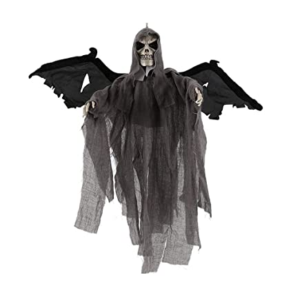 newdanceus halloween props hanging ghost animated skeleton with glowing red eyes and scary sound halloween decorations