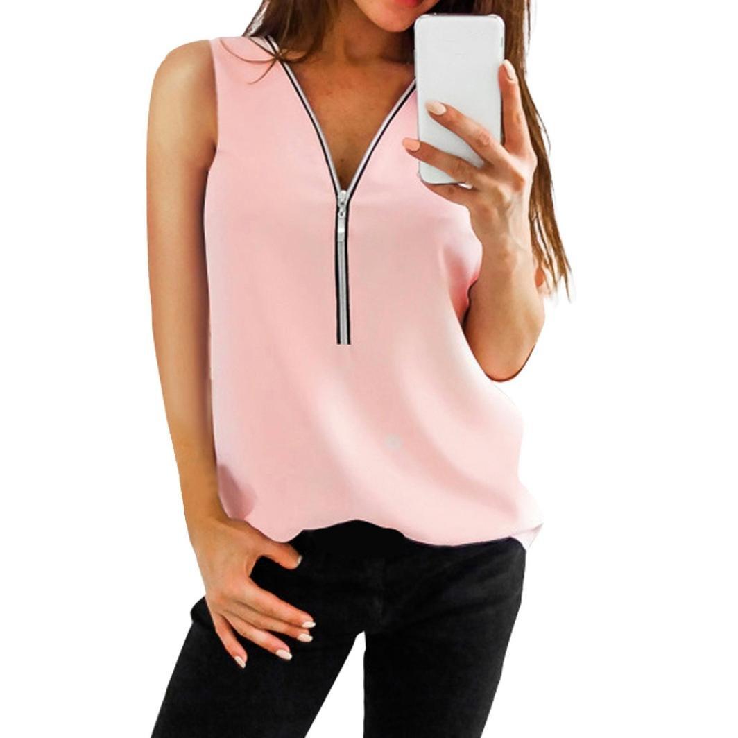 Kobay 9 Farben Damen Reißverschluss Ärmellos Lässige Weste Top Bluse Sommer Lose T-Shirts Kobay bluse