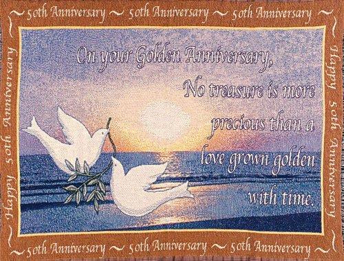 Jubilee Celebrations 50th Anniversary Sofa Throw - Made in USA ()