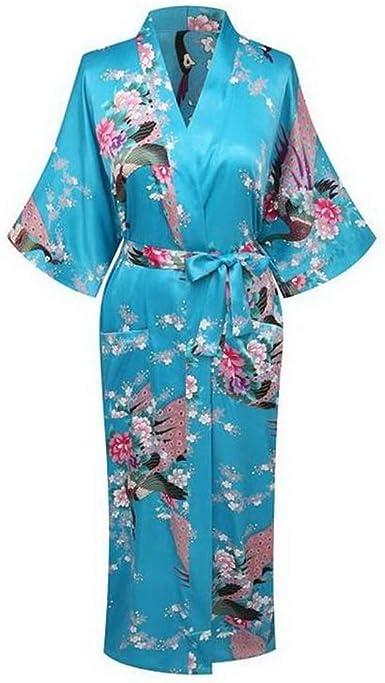 Kimono de Seda para Mujer, Pijama de Seda de rayón, Bata ...