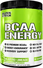 Evlution Nutrition BCAA Energy - High Performance Amino Acid Supplement for Anytime Energy, Muscle Building, Recovery and Endurance, Pre Workout, Post Workout (Jalapeno Limeade, 30 Servings)