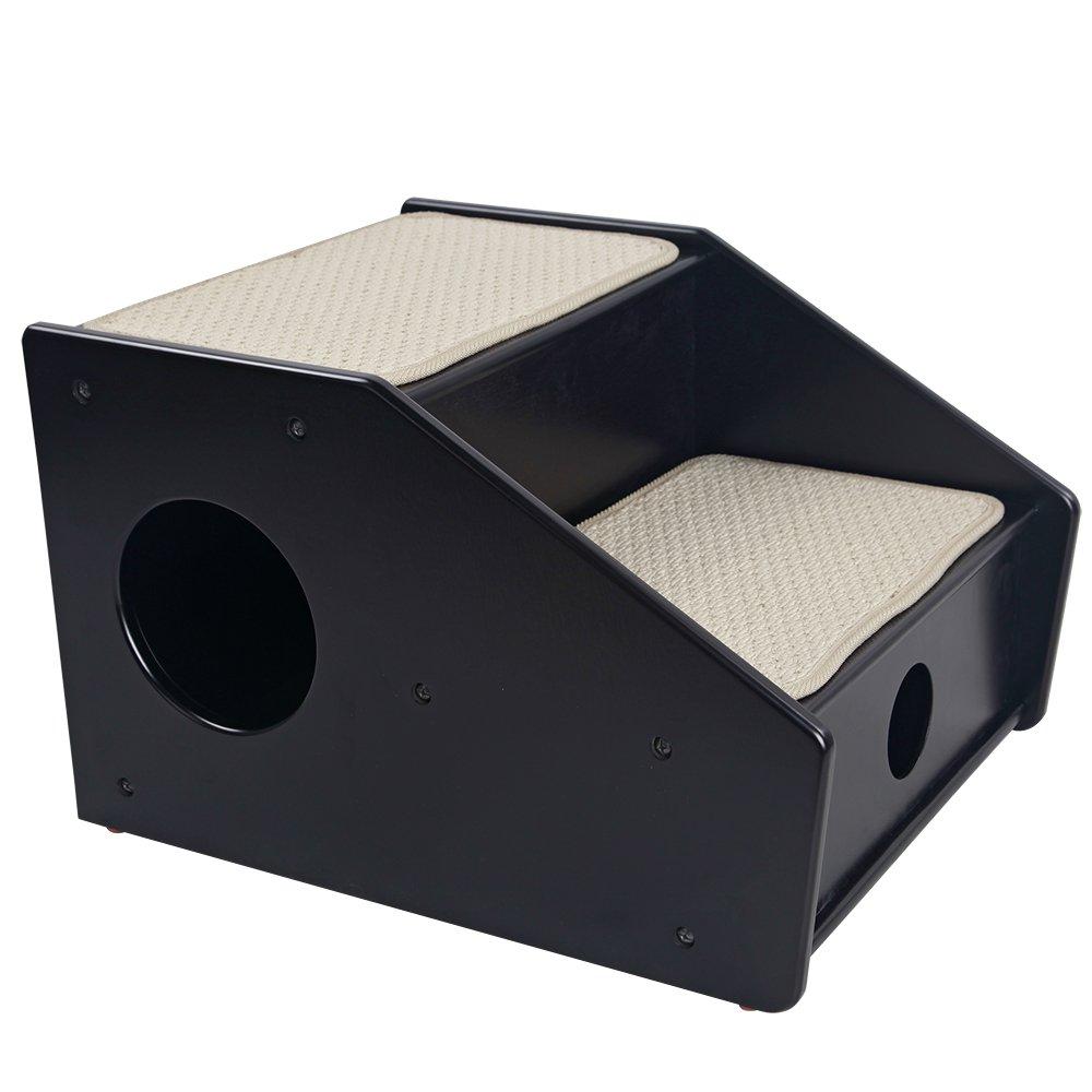 Petsfit 2-Steps Dog Stairs,Black(21x17x14 inch)