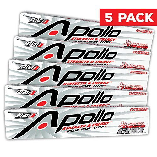 Apollo Caffeine Gum Sugar Free - Spearmint Flavor Caffeinated Chewing Candy with Xylitol to Help Teeth and Immunity - Energy Gum 80mg Caffeine/pc - 5 Pack