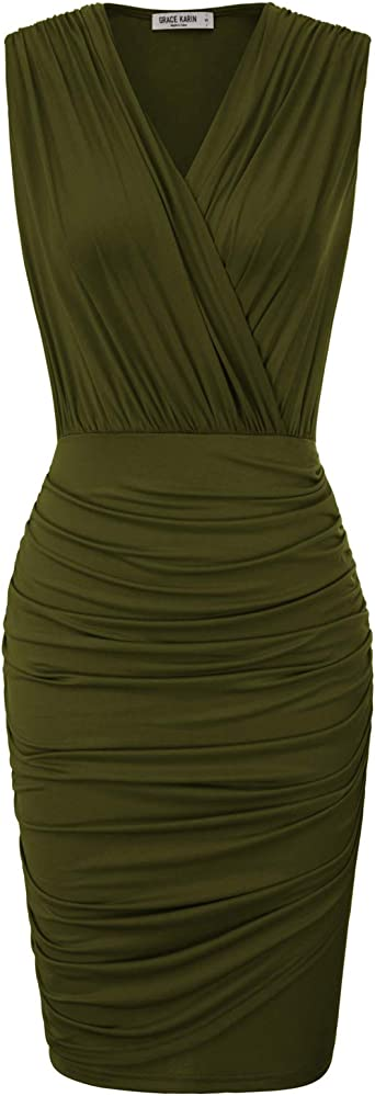 S-2XL Womens sleeveless Draped Back pencil Midi Casual cocktail bodycon  dress