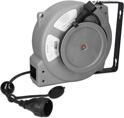 Einzug mit Elektrokabel//Verl/ängerungskabel und Wandmontage 15 Meter, Blau DMS Automatik Kabeltrommel//Automatischer Kabelaufroller
