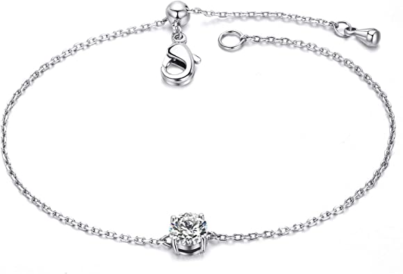 18-Inch Rhodium Plated Necklace with 4mm Zircon Birthstone Beads and Sterling Silver Seven Gifts Charm.
