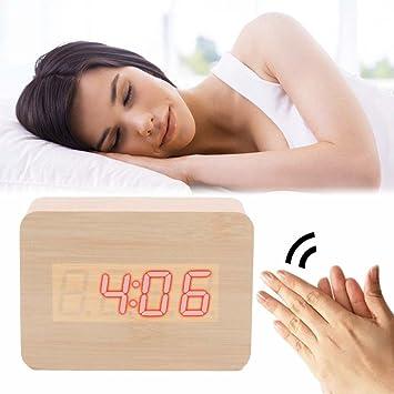 03f2ca12f40 Relogio Digital Led Madeira Alarme Mesa Termometro Funçao Voice Control  Bege (JA80600)