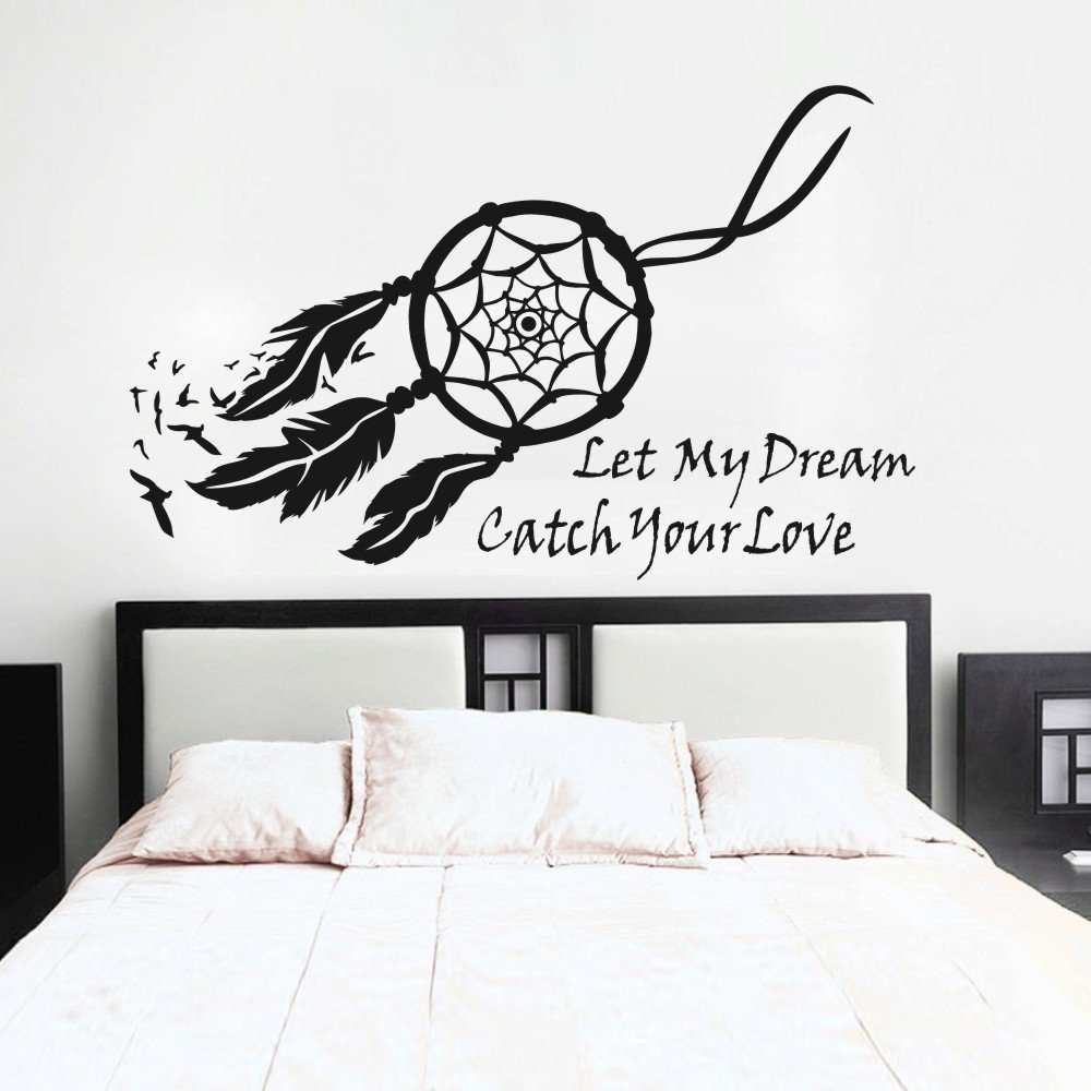 mairgwall dream catcher wall decal native american feathers mairgwall dream catcher wall decal native american feathers bedroom wall sticker small black amazon com