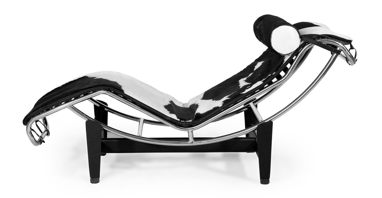Kardiel Gravity Chaise Lounge, Black White Cowhide with Matching Pillow
