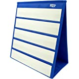 """Tabletop Desktop Pocket Chart with Bonus 20X Dry Erase Cards. Double Sided and Self-standing (13"""" X 12"""")"""
