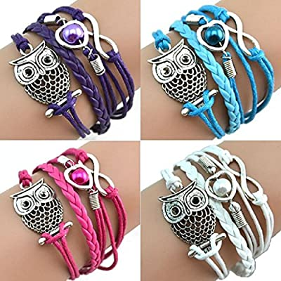 Shensee Bracelets Fashion Women Lovely Infinity Owl Pearl Friendship Multilayer Charm Leather Gift