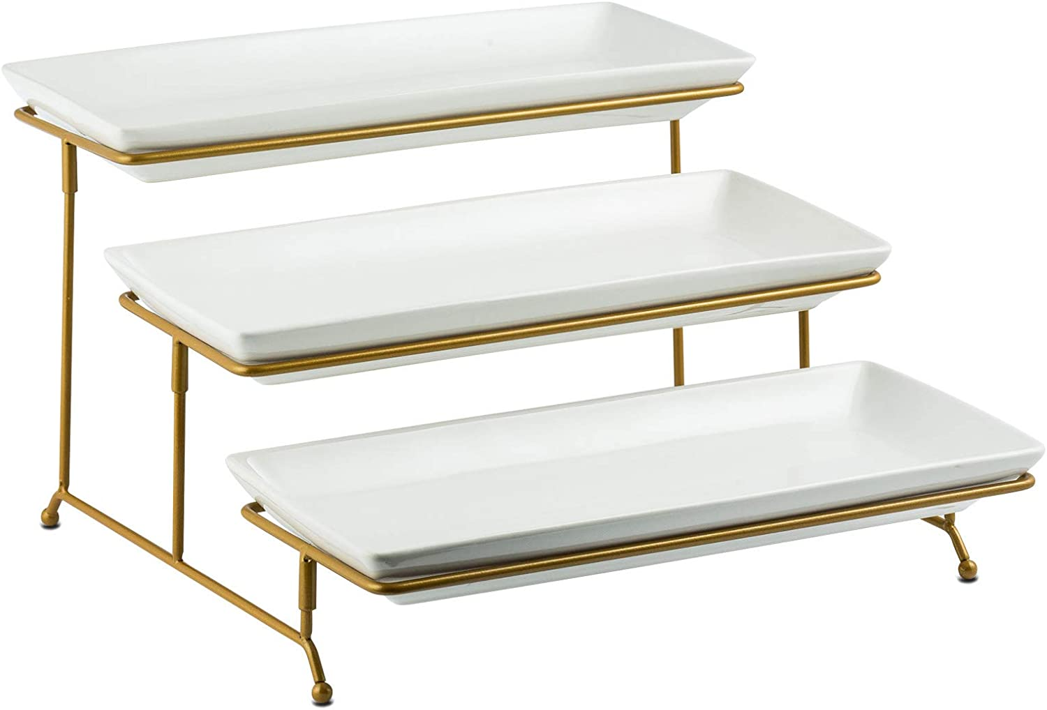 Large Tiered Serving Stand with Platters 3 Tier Serving Stand Serving Tray for For Dessert Server Display Collapsible Sturdier Metal Rack