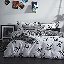 FADFAY Black and White Duvet Cover Set 100% Cotton Black and White Panda Bedding Twin