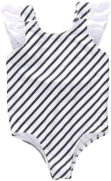 Kids Girls Romper Bodysuit Falbala Halter Strap One-Piece Swimwear Floral Bathing Suit