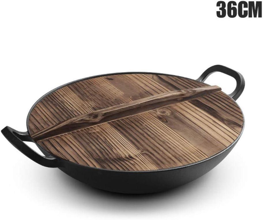 Wok De Hierro Fundido Antigua Olla De Hierro Fundido De Doble Oreja De Fondo Redondo Y Engrosada Para La Cocina Tradicional Doméstica Estufa De Gas,36cm