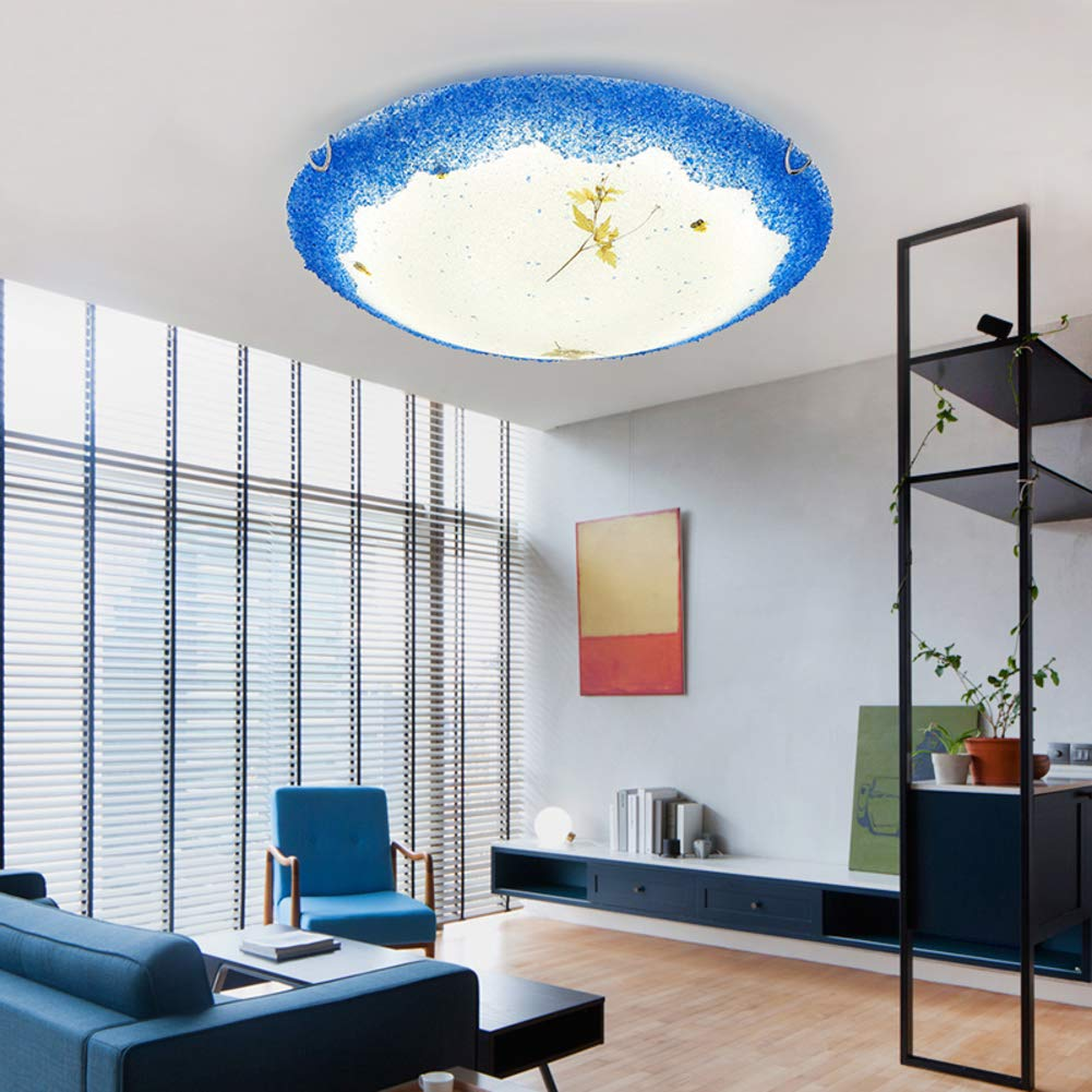 Mediterranean Creative Glass Ceiling Light, LED 36W Modern Tiffany Style Decoration Ceiling lamp for Bedroom Living Room Ceiling Light-Trichromatic dimming-C 50x10cm by CUICAN (Image #5)