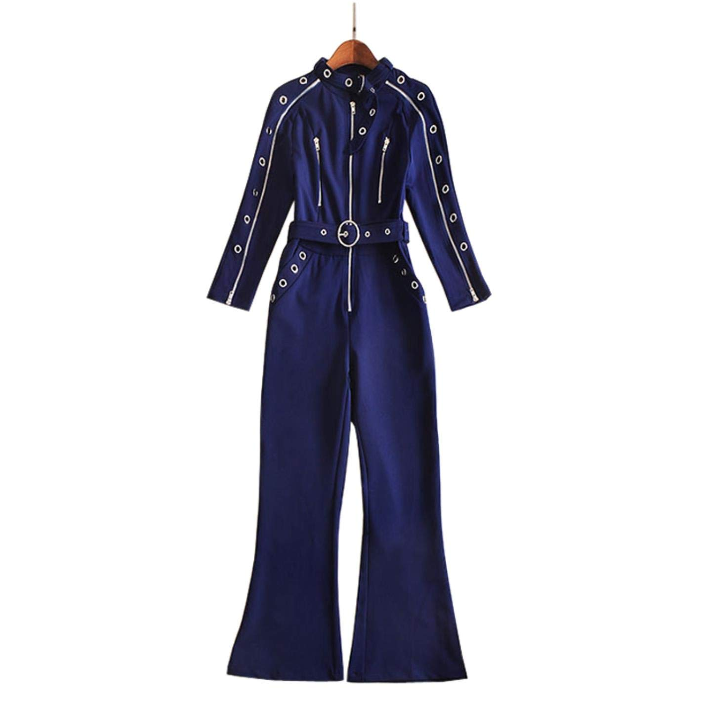 KmjHe Women Tight Plaid Zip Buckle High Collar Long Sleeve Flare Pants Set