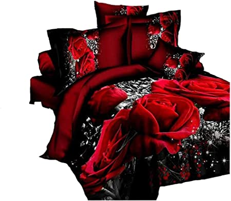 Copripiumino Rosso Matrimoniale.Set Biancheria Da Letto 3d Con Rose Rosse Copripiumino Stampato