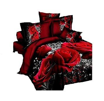 Tinghan 3d Bettwäsche Set Hot Red Rose 4 Print Bettbezug Polyester