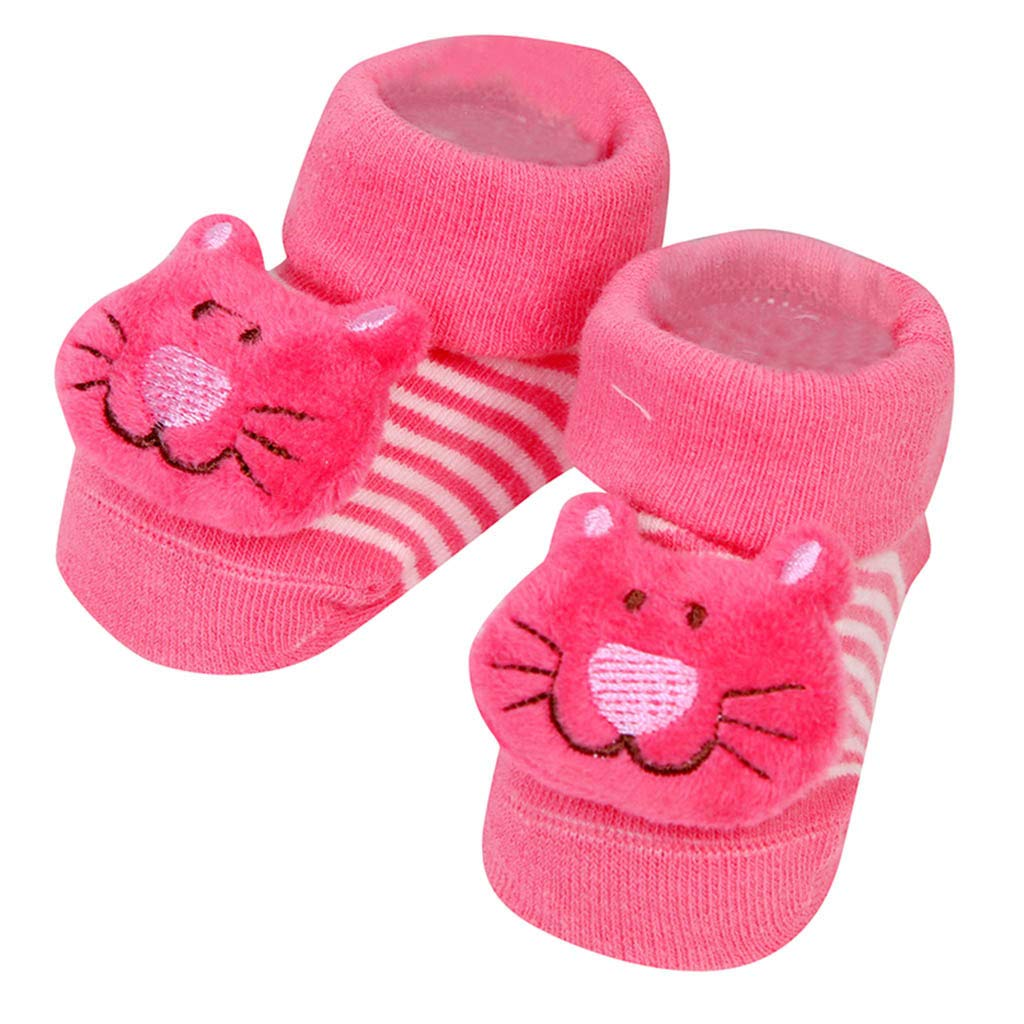 Little Kid Cute Cartoon Socks,Jchen(TM) 1 Pair Newborn Baby Boys Girls Cartoon Animal Floor Socks Anti-Slip Step Shoes Socks for 0-1 Y (Hot Pink)