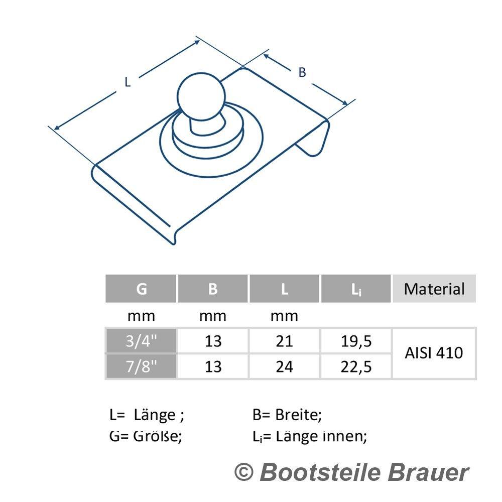 Bootsteile Brauer 10 St/ück LOXX Unterteil f/ür Windschutzscheibe 19,5 mm 3//4 Edelstahl C1 AISI 410
