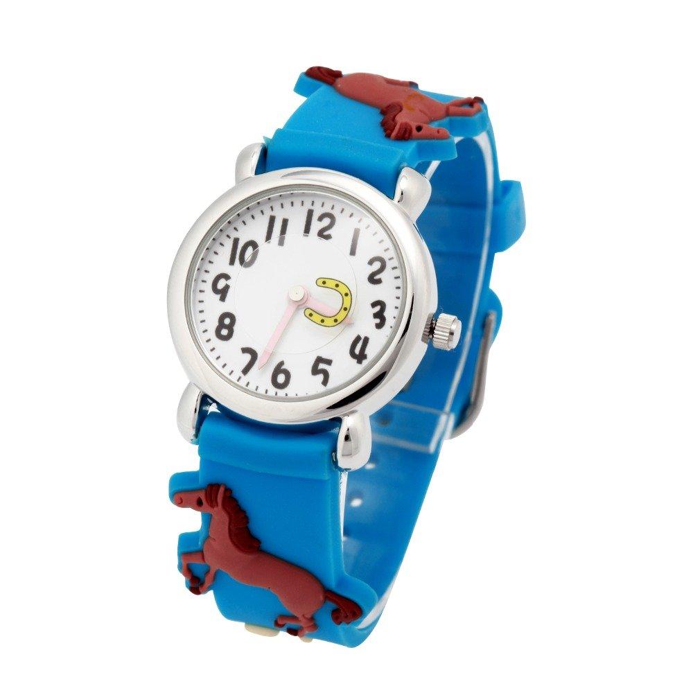 Nextstart Resin Strap 3D Horse Children's Boy Girls Kids Student Watch Gift Watches Quartz Wristwatch