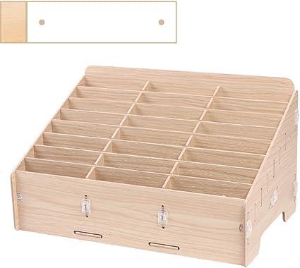 24-grid Madera Escritorio Caja de almacenamiento,Salón de clases Caja de acabado Estante del almacenaje-S: Amazon.es: Oficina y papelería